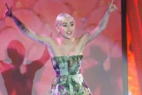 Singer Miley Cyrus performs during the World Music Awards in Monte Carlo.