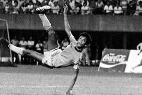 Singapore's legendary striker Fandi Ahmad with a spectacular overhead kick against Perlis in the 1980s.