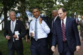 U.S. President Barack Obama with Vice President Joe Biden.