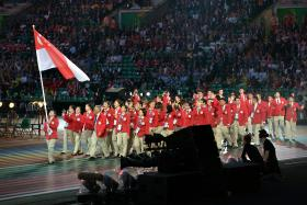 Opening ceremony of the 2014 Commonwealth Games held at the Celtic Park Stadium in Glasgow, Scotland.