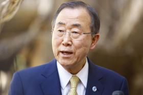 : United Nations Chief Ban Ki Moon at the Iraqi central shrine city of Najaf.