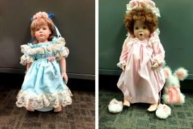 Two of the porcelain dolls found on doorsteps of numerous residences in the Talega community of San Clemente, California.