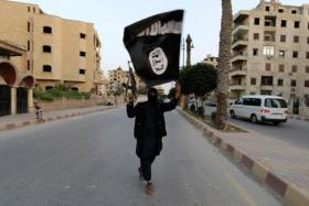 A member loyal to the Islamic State waves an IS flag in Raqqa June 29, 2014.