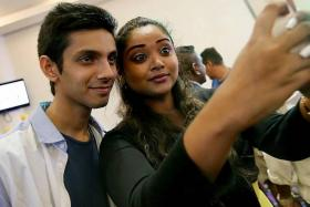 POPULAR: An excited fan takes a selfie with her idol, Anirudh Ravichander.