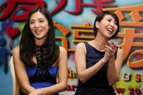 """GLEE: Taiwanese actress Charlie Young (left), with Valen Hsu, is happy to be a """"Singaporean wife""""."""