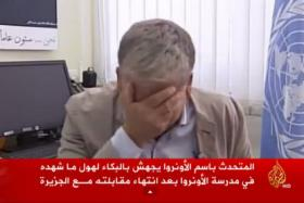 UN official couldn't hold back his tears while talking about the shelling of a UN-run school in Gaza that killed many children.