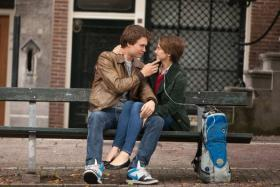 A still from the movie The Fault in Our Stars, starring Shailene Woodley (right) and Ansel Elgort.