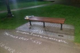 Fan Nick Rabchenuk went to the famous bench where Robin Williams and Matt Damon sit in the movie Good Will Hunting, located in Boston Public Gardens, and turned it into a memorial to the late actor, who died on Aug 11.