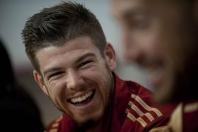 Spain's Alberto Moreno smiles during a press conferencein Sevilla on May 29, 2014 for an International friendly against Bolivia. His next port of call is Liverpool FC.