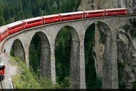 A file photo of a train crossing a bridge near the eastern Swiss town of Filisur.