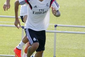 Real Madrid winger Angel di Maria in training.