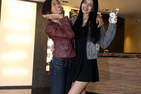 NEW LOCKS: The New Paper New Face 2014 finalists Mira Azman (left) and Rinna Murni.