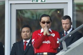 Cardiff City owner Vincent Tan watches from the stands. He has apparently sent in a dossier questioning the conduct of former Cardiff manager, Malky Mackay.