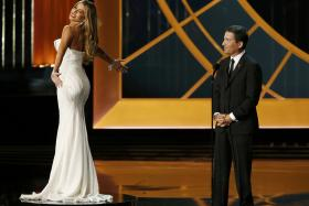 Modern Family actress Sofia Vergara was made to stand on a rotating platform while Television Arts and Sciences president gave a speech.