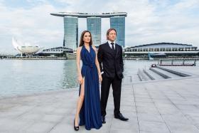 Hollywood superstars Brad Pitt and Angelina Jolie were spotted last night at the iconic waterfront location of One Fullerton in Singapore.