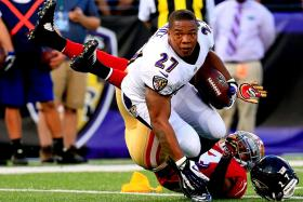 File photo of Ray Rice of the Baltimore Ravens. Rice was given a two-game suspension in July for hitting a woman who is now his wife. Many were outraged by the penalty, which they perceived as too light.