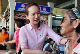 Nicole Seah, then candidate from the National Solidarity Party (NSP) making her rounds during the General Election in 2011.