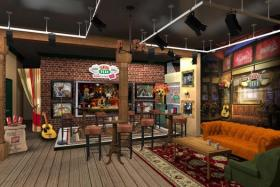 A computer rendering of the famous Central Perk, featuring the famous orange couch!