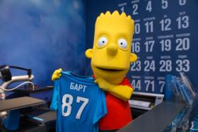 Bart Simpson shows off the jersey he will wear for Russian club Zenit St Petersburg.