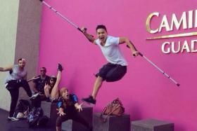 Vietnamese-born Jean Sok break dances with only one leg.