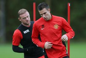 Rooney (left) and Van Persie will be competing with Falcao.