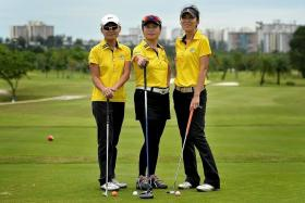 READY: (From left) Shannon Ng, Agnes Tay and Gigi Lim from Jurong Country Club are looking forward to the SPH World Golfers Championship.