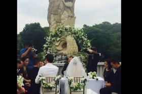 It is indeed official! Joanne Peh and Qi Yuwu, after dating for more than a year, married in a quiet ceremony in Sentosa on Tuesday (Sept 9).