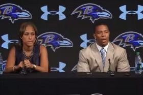 Janay Rice sitting next to her husband Ray Rice at the press conference earlier this year.