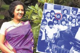 Rani Singam today and back in 1979. Not many pictures exist from her days in the RTS  Children's Choir. Ms Rani is circled.