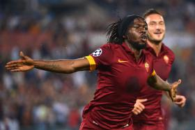 Roma forward Gervinho celebrates after scoring one of his two goals against Moscow CSKA.
