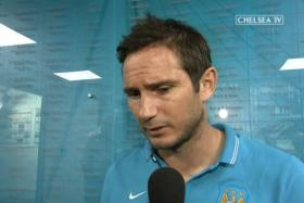 Manchester City midfielder Frank Lampard speaking to an interviewer from Chelsea TV.