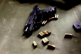 File photo of a gun. Mr Bharat Sharma, 32, was shot twice in July during a bank robbery. Local surgeons refused to take out the bullet in his heart, fearing he would die instantly.