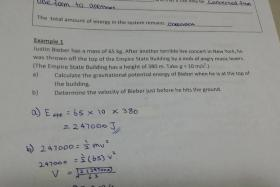 A local physics teacher used Justin Bieber as an example for a kinematics problem.