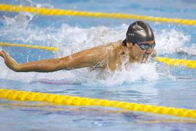 Joseph Schooling competing in the Asian Games 100m final.