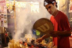 Roger Federer serving up some satay...via photoshop