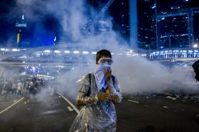 A pro-democracy protester protects himself from tear gas in Hong Kong during a demonstration yesterday.