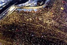 Footage of the Hong Kong protests taken from a drone.