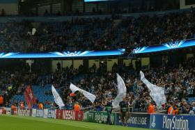 Manchester City could only muster a crowd of 37,509 when they played against Roma in the Champions League.