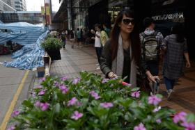 A mainland Chinese tourist walking past luxury stores next to a pro-democracy protest Hong Kong on Thursday.