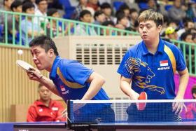 TOUGH TASK: Gao Ning (in front) and Li Hu (behind) will slug it out against the Chinese pair of Xu Xin and Fan Zhendong today in the men's table tennis doubles semi-finals.