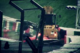 Screenshot of video showing Jules Bianchi's crash at the Japanese Grand Prix.