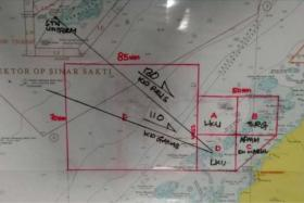 The search area pix tweeted by Malaysian Navy Chief Abdul Aziz.