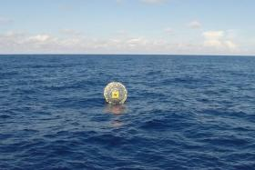 Reza Baluchi's floating bubble can be seen here in a picture taken by the US Coast guard.