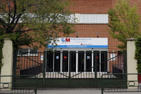 An entrance to the Carlos III hospital, where a Spanish nurse who contracted Ebola is being treated.