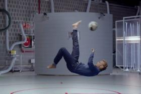 Ivan Rakitic performing a bicycle kick in a full denim outfit in the advert - because that is what people do when they wear a full denim outfit.