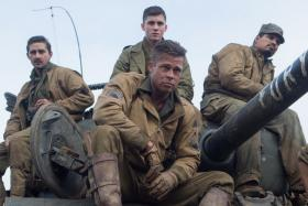 Fury, starring Brad Pitt (front, left) and Shia LaBeouf (extreme left).