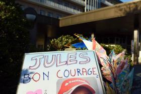 Messages of support for stricken F1 driver Jules Bianchi placed outside the Mie General Medical Centre in Yokohama.
