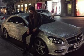 Student Daria Radionova is selling her luxury Mercedes CLS 350 encrusted with one million Swarovski crystals.