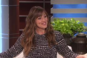 Jennifer Garner jokes with Ellen DeGeneres about husband's nude scene in recently released mystery thriller film Gone Girl.