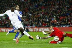 SCORING START: Danny Welbeck (far left) grabs his chance to shine for England in the absence of Daniel Sturridge.